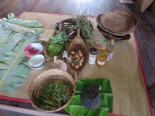 カレン族の料理教室食材